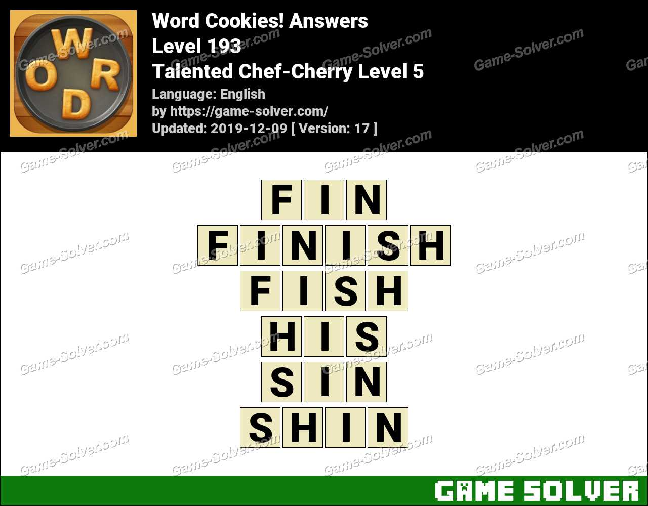 Word Cookies Talented Chef-Cherry Level 5 Answers