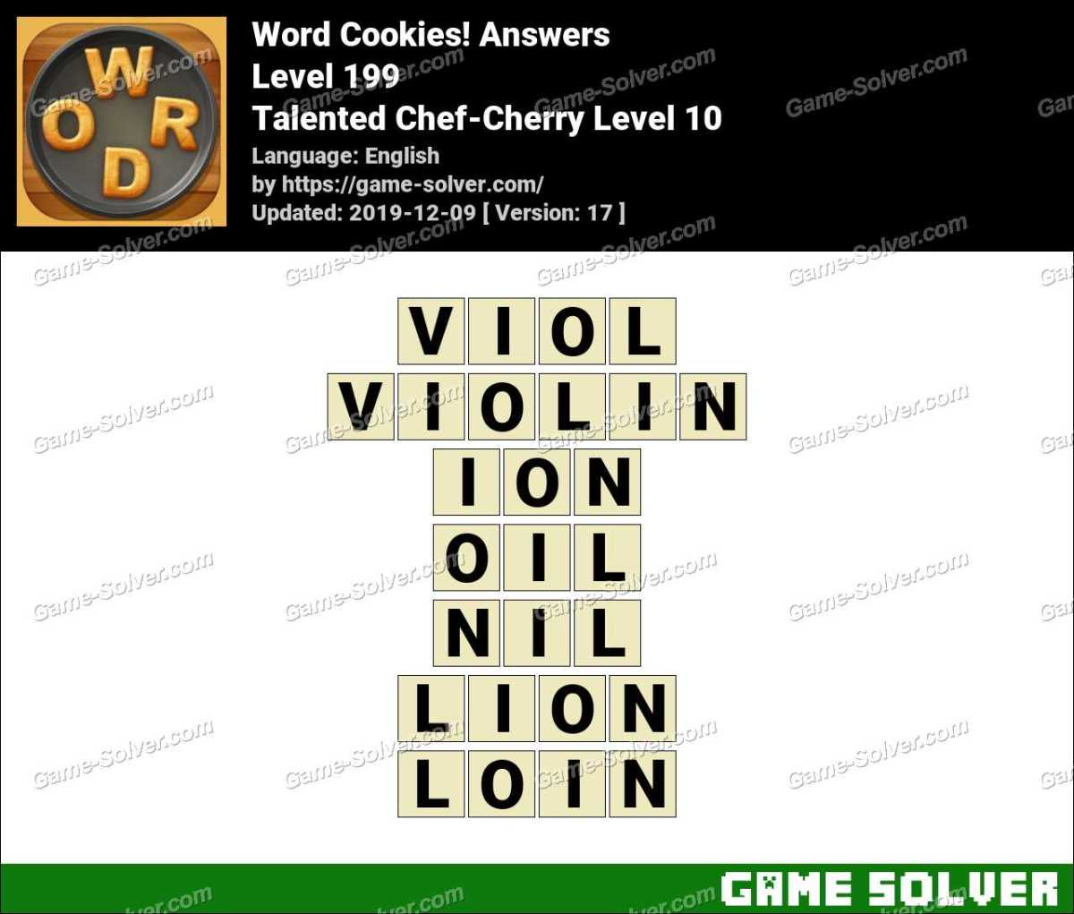 Word Cookies Talented Chef-Cherry Level 10 Answers
