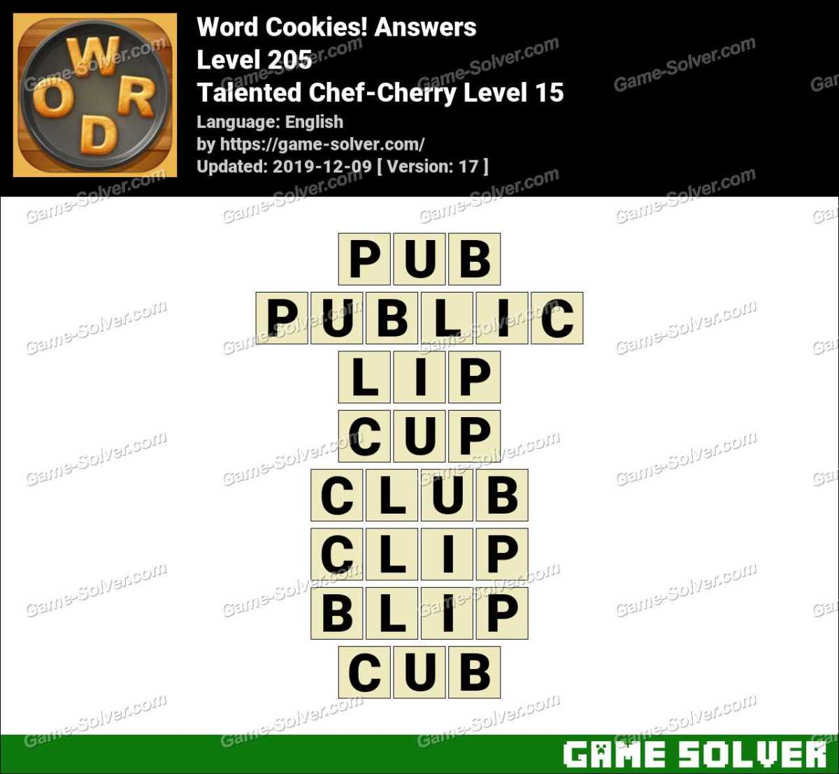Word Cookies Talented Chef-Cherry Level 15 Answers