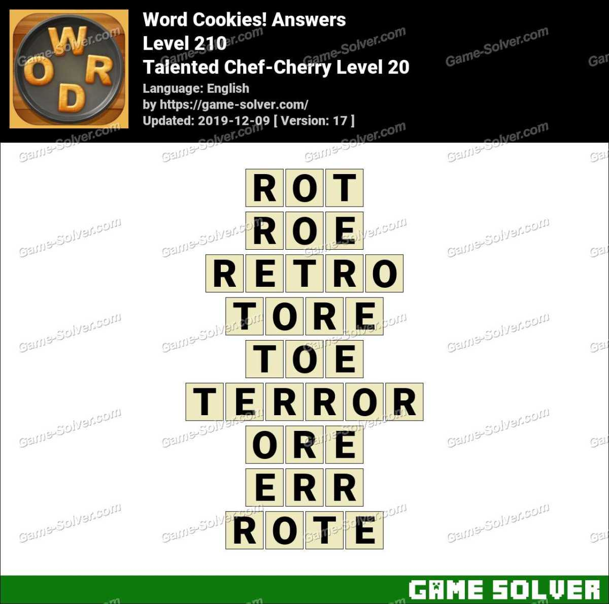 Word Cookies Talented Chef-Cherry Level 20 Answers