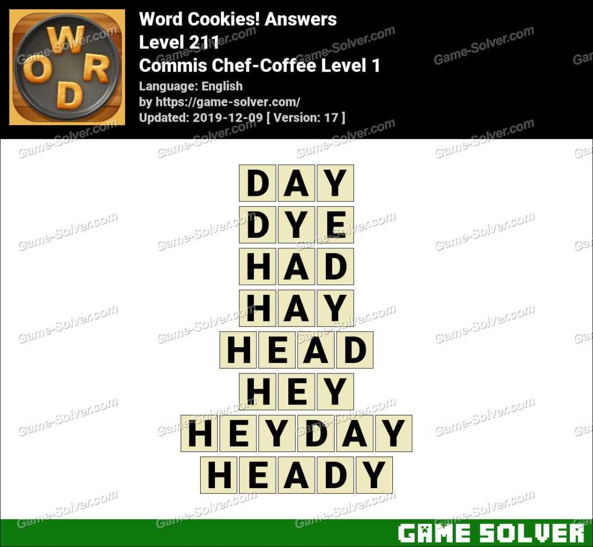 Word Cookies Commis Chef-Coffee Level 1 Answers