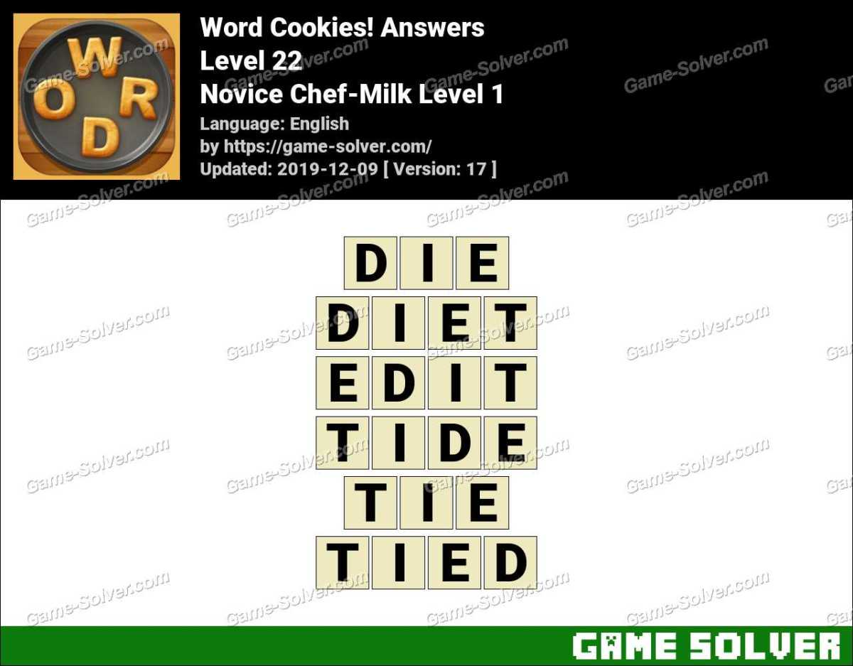 Word Cookies Novice Chef-Milk Level 1 Answers