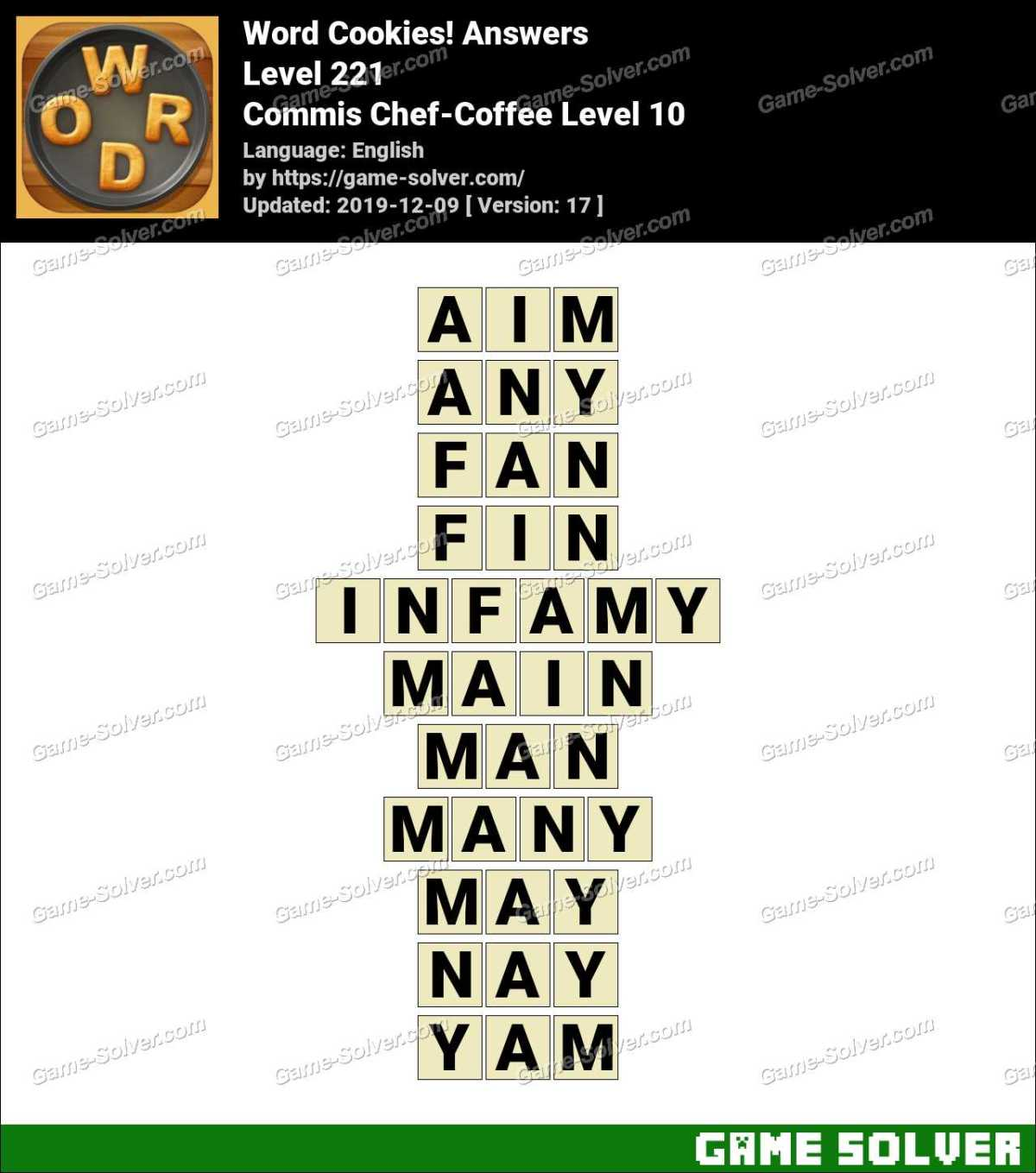 Word Cookies Commis Chef-Coffee Level 10 Answers
