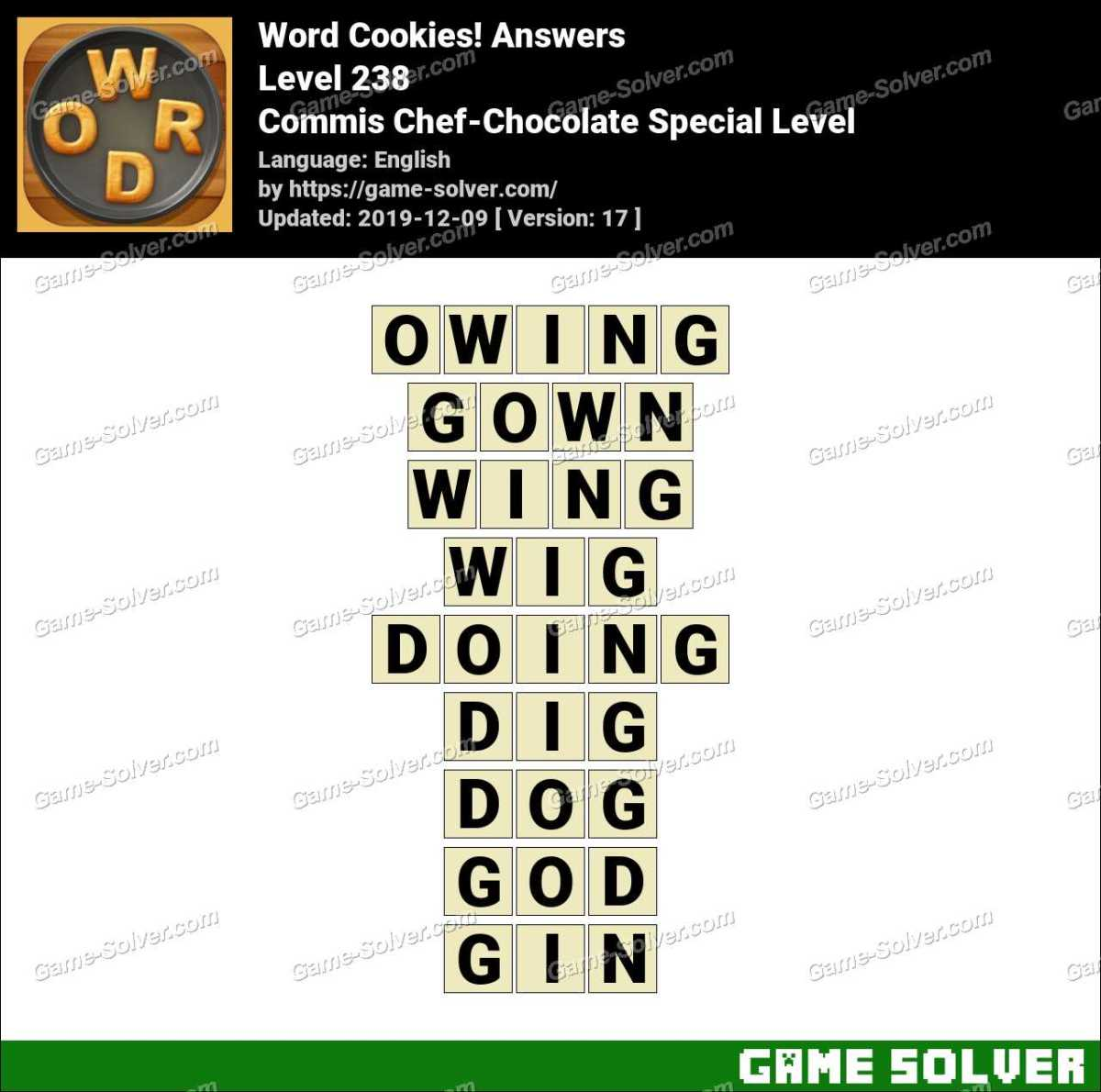 Word Cookies Commis Chef-Chocolate Special Level Answers