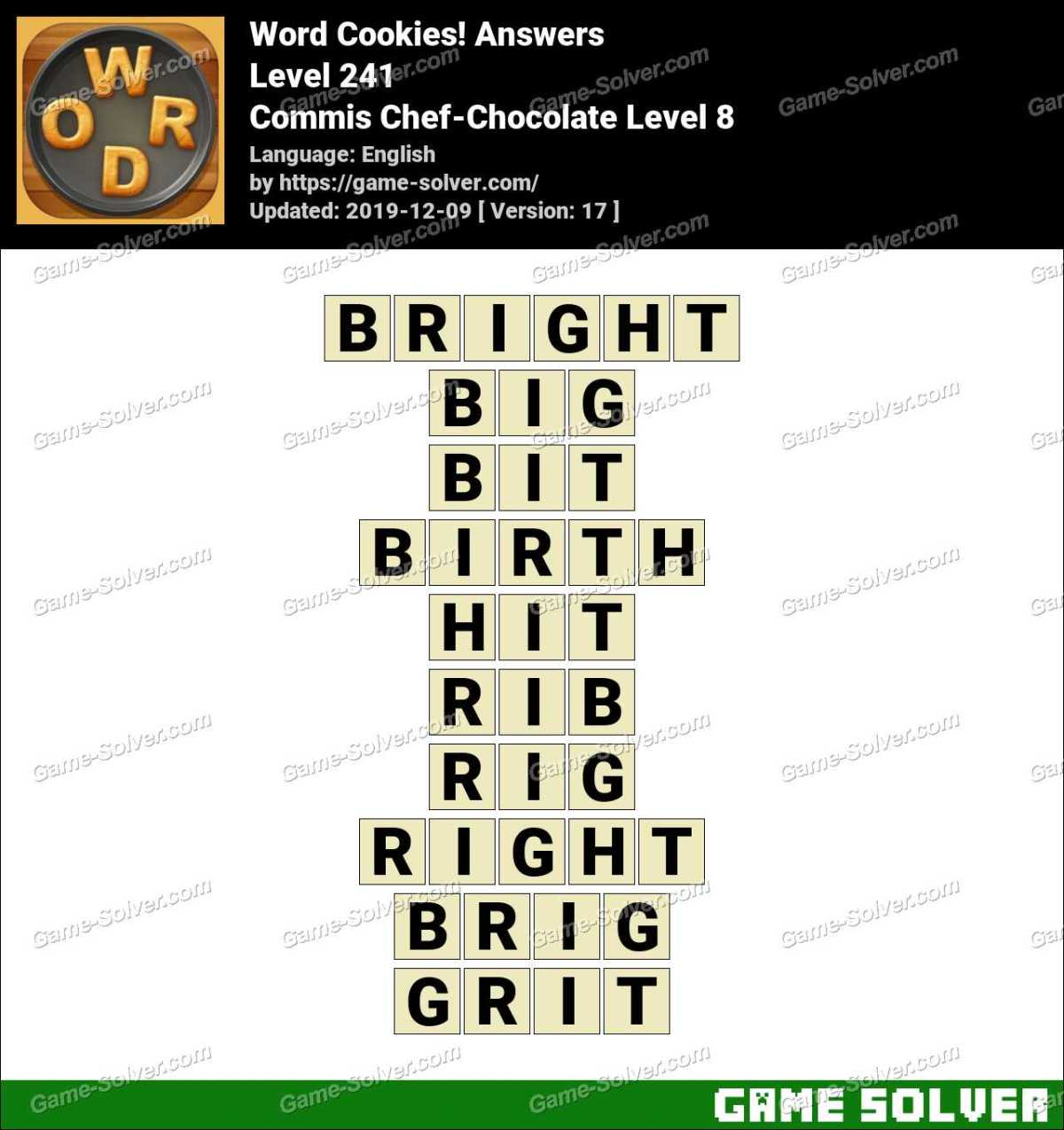 Word Cookies Commis Chef-Chocolate Level 8 Answers