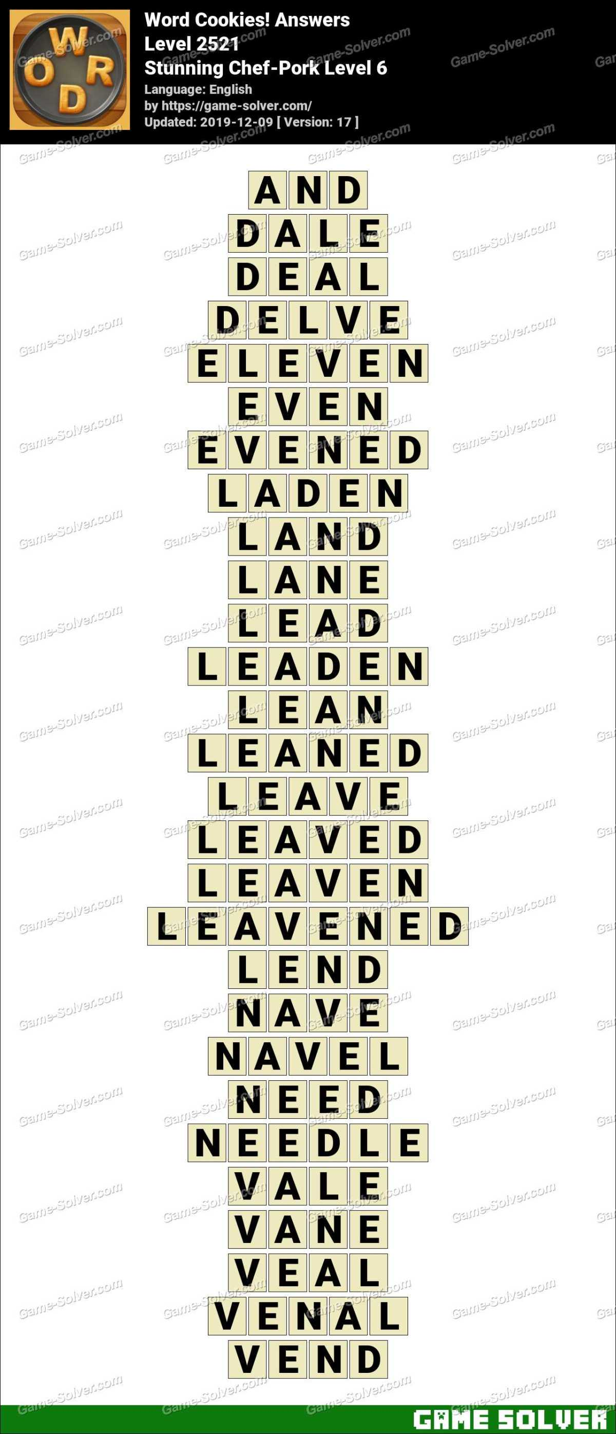 Word Cookies Stunning Chef-Pork Level 6 Answers