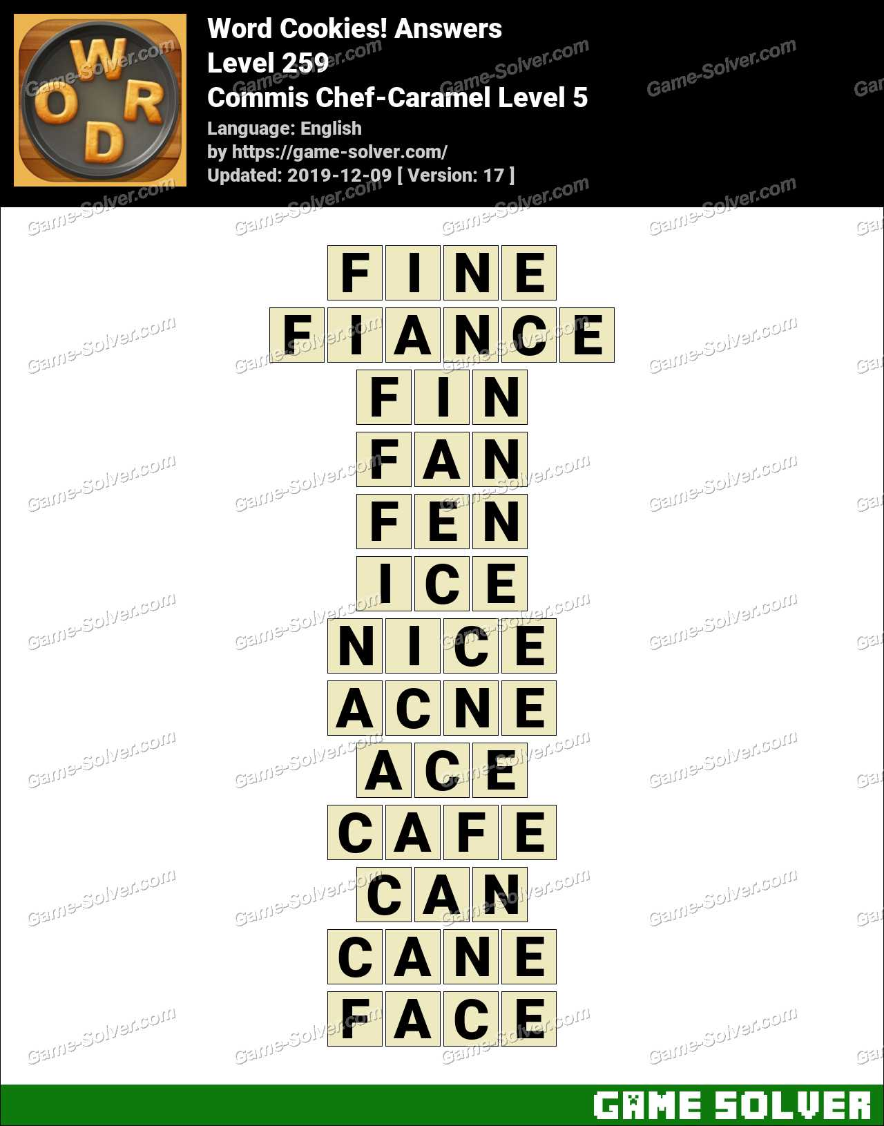 Word Cookies Commis Chef-Caramel Level 5 Answers