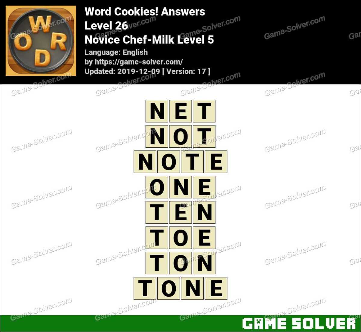 Word Cookies Novice Chef-Milk Level 5 Answers