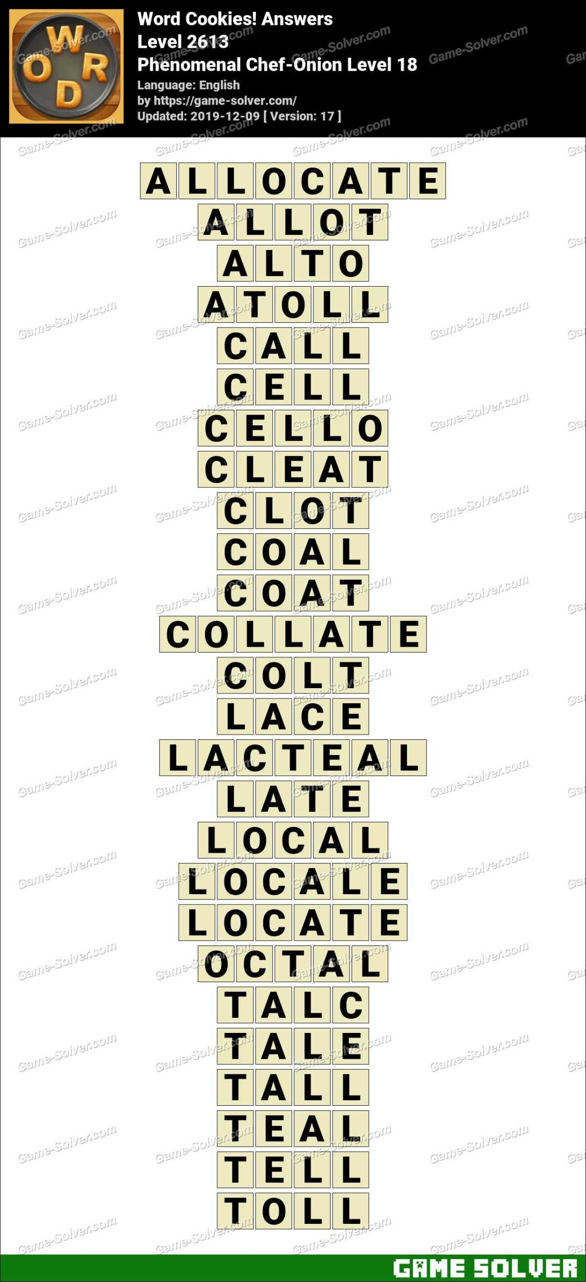 Word Cookies Phenomenal Chef-Onion Level 18 Answers