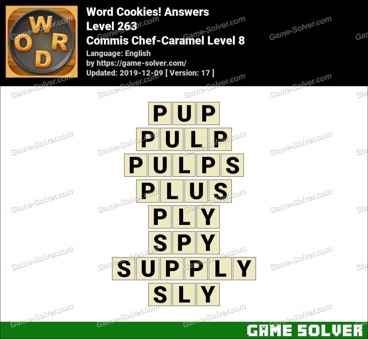 Word Cookies Commis Chef-Caramel Level 8 Answers