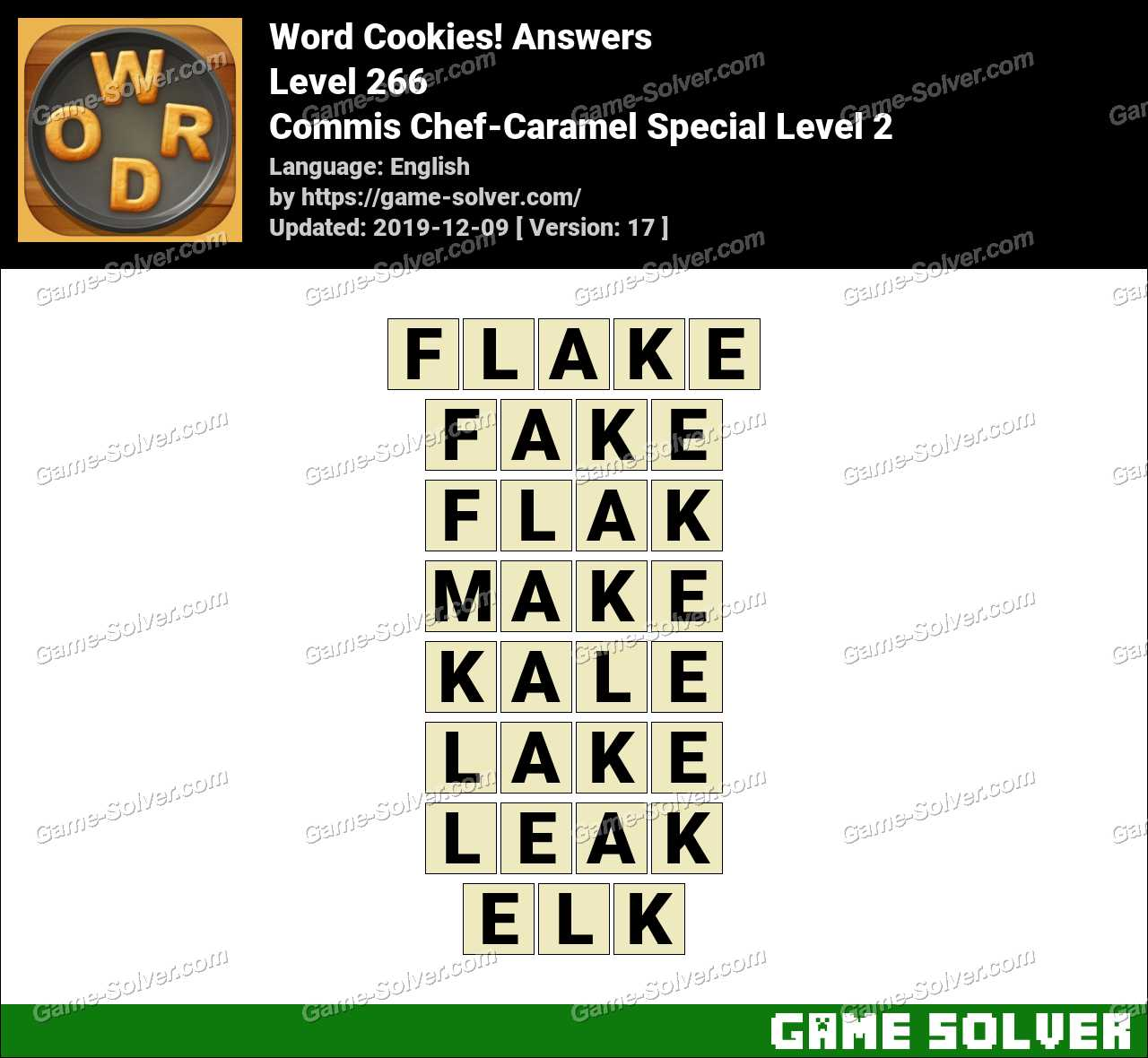 Word Cookies Commis Chef-Caramel Special Level 2 Answers