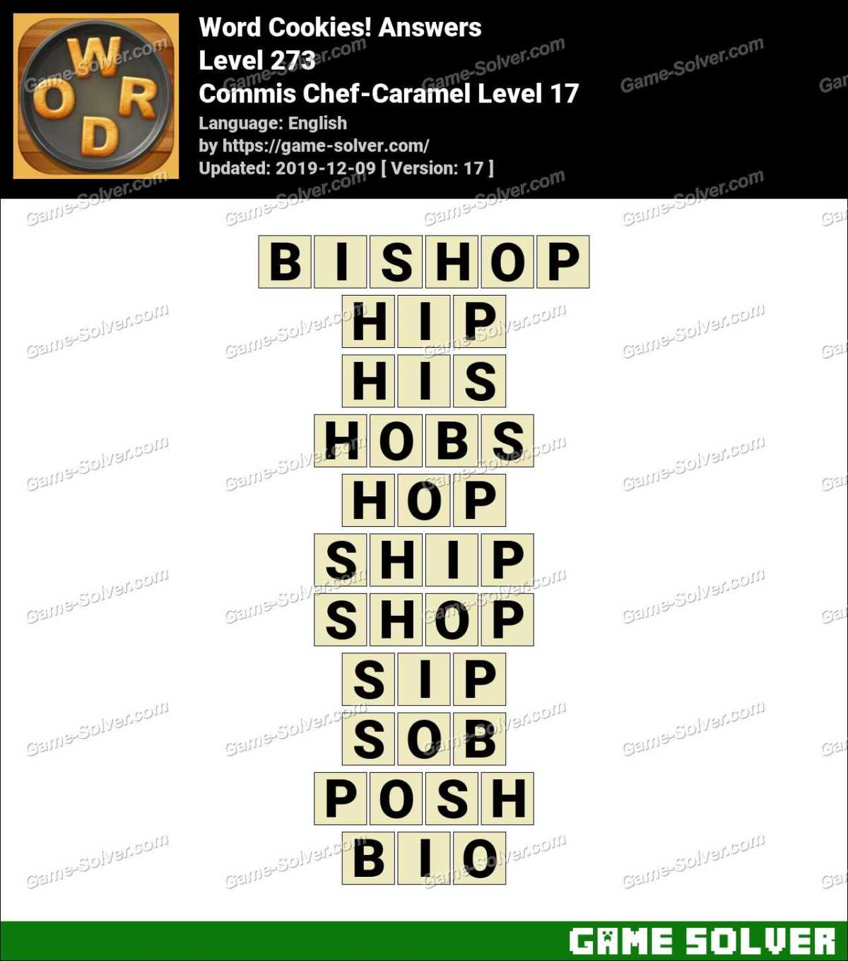 Word Cookies Commis Chef-Caramel Level 17 Answers