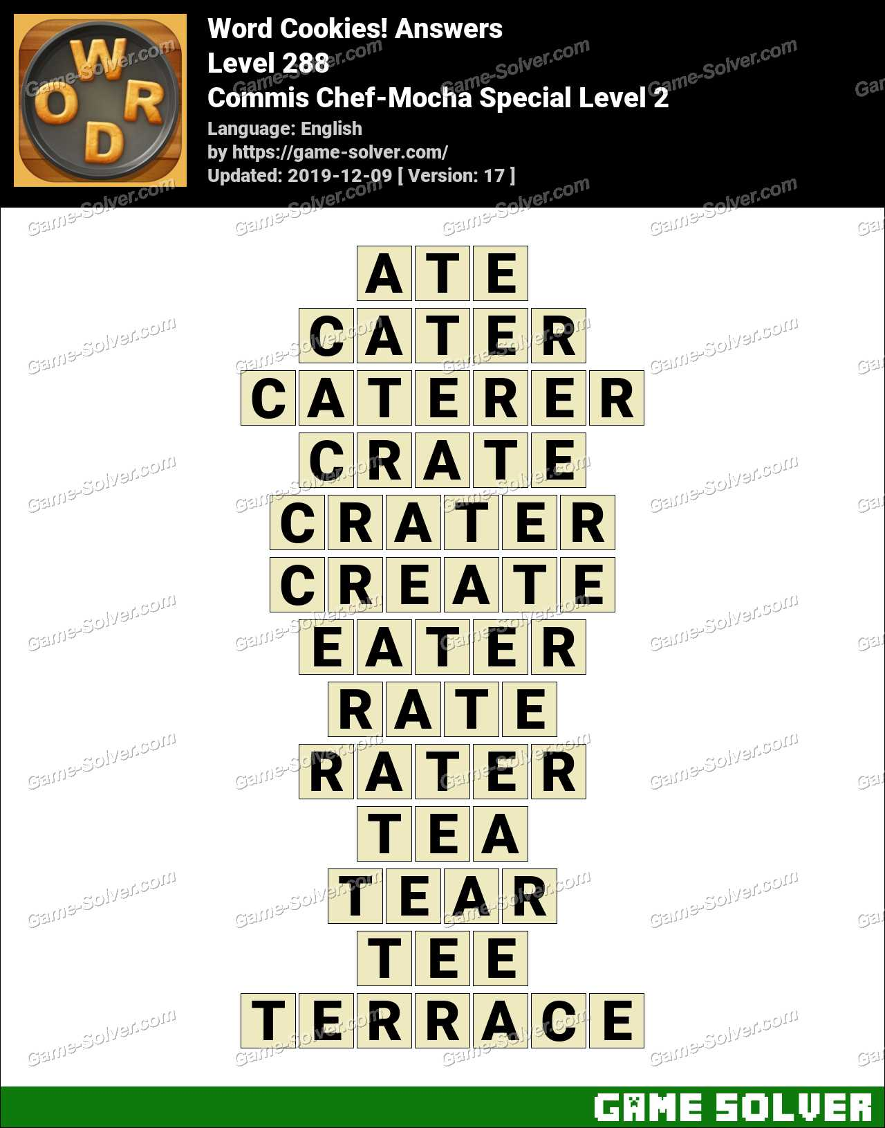 Word Cookies Commis Chef-Mocha Special Level 2 Answers