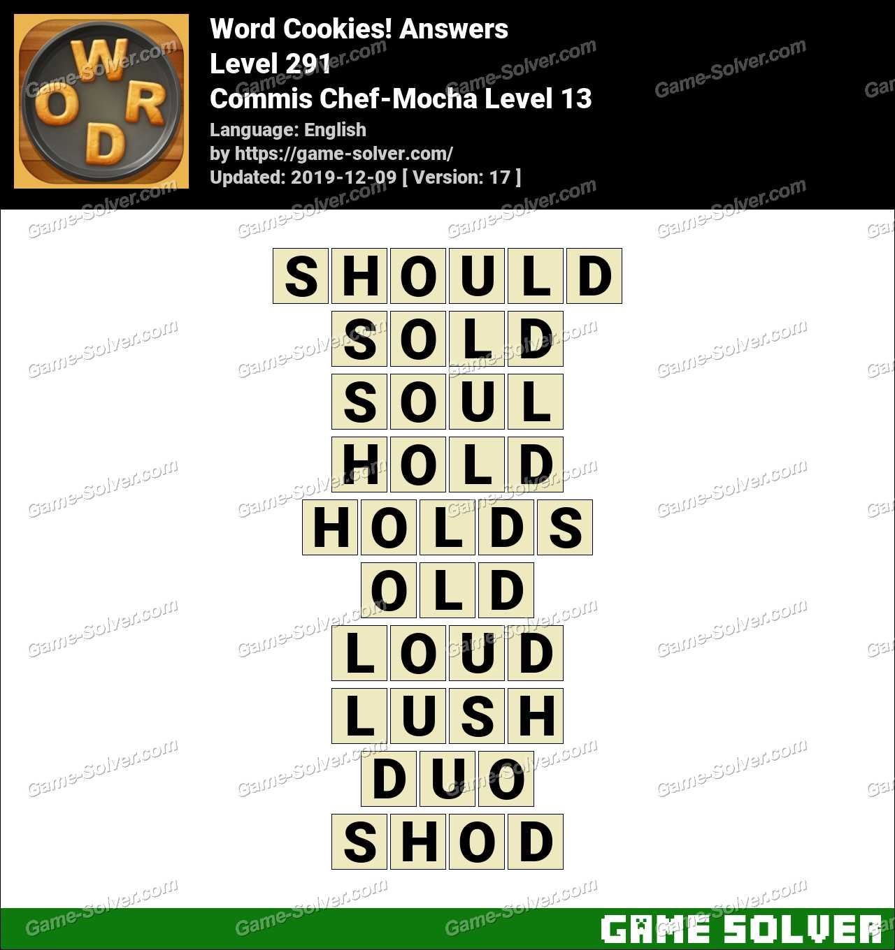 Word Cookies Commis Chef-Mocha Level 13 Answers