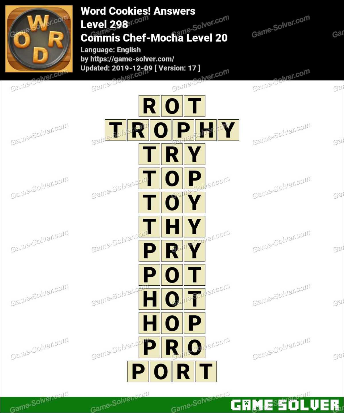 Word Cookies Commis Chef-Mocha Level 20 Answers