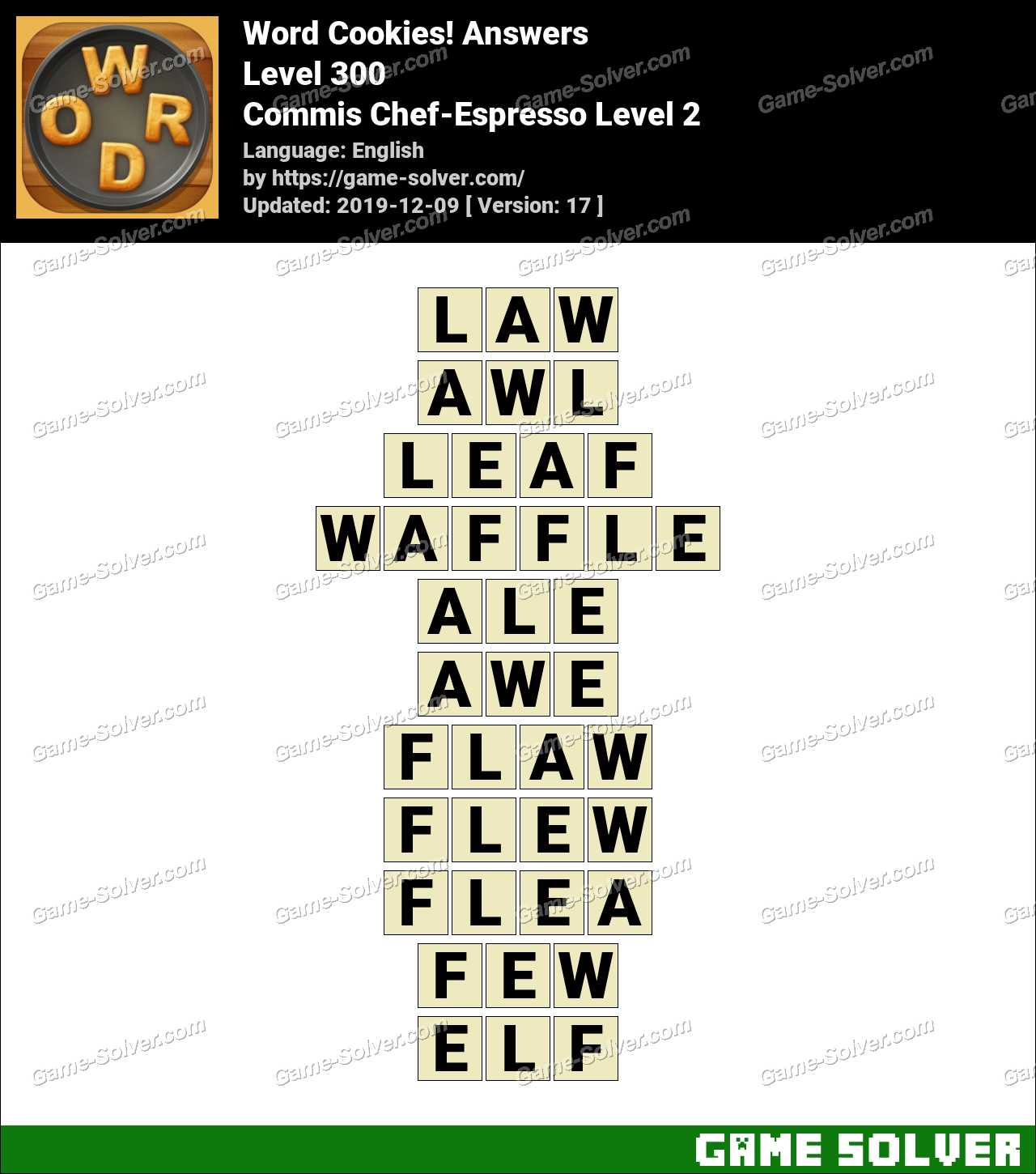Word Cookies Commis Chef-Espresso Level 2 Answers