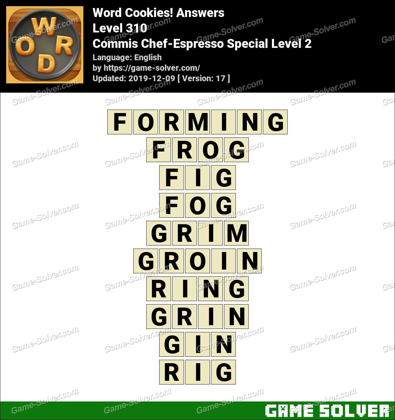 Word Cookies Commis Chef-Espresso Special Level 2 Answers