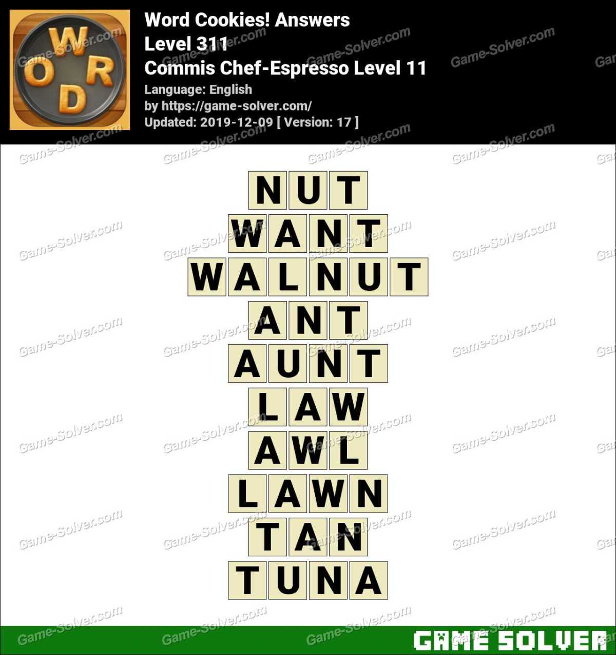 Word Cookies Commis Chef-Espresso Level 11 Answers