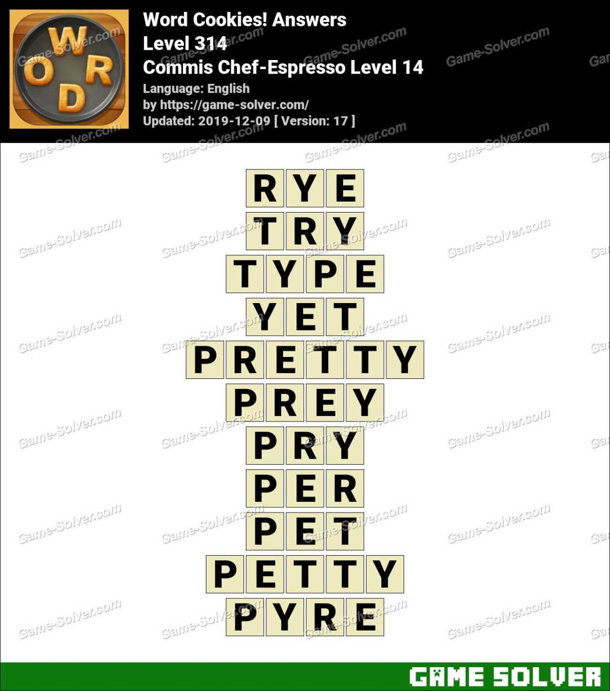 Word Cookies Commis Chef-Espresso Level 14 Answers