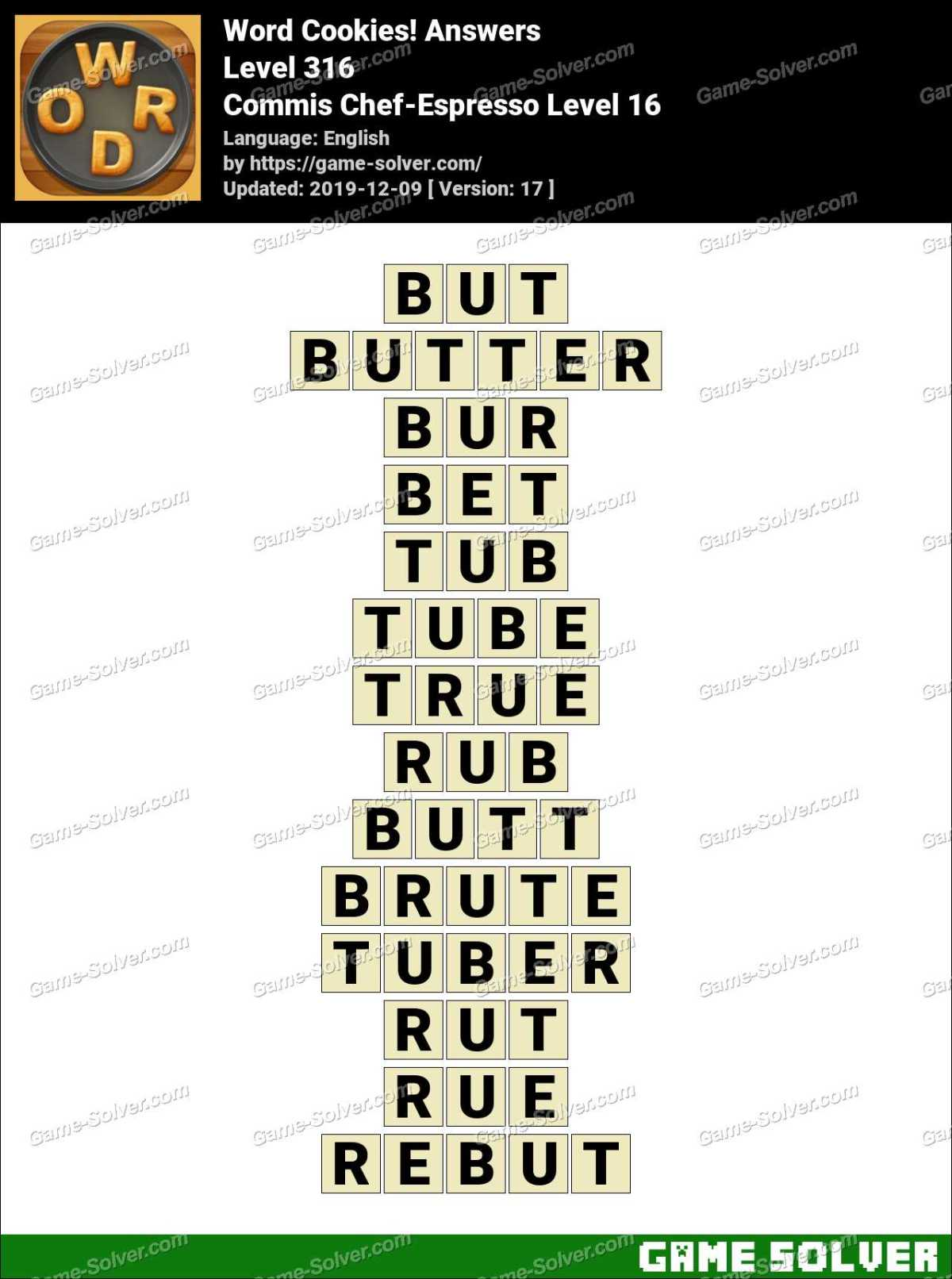 Word Cookies Commis Chef-Espresso Level 16 Answers