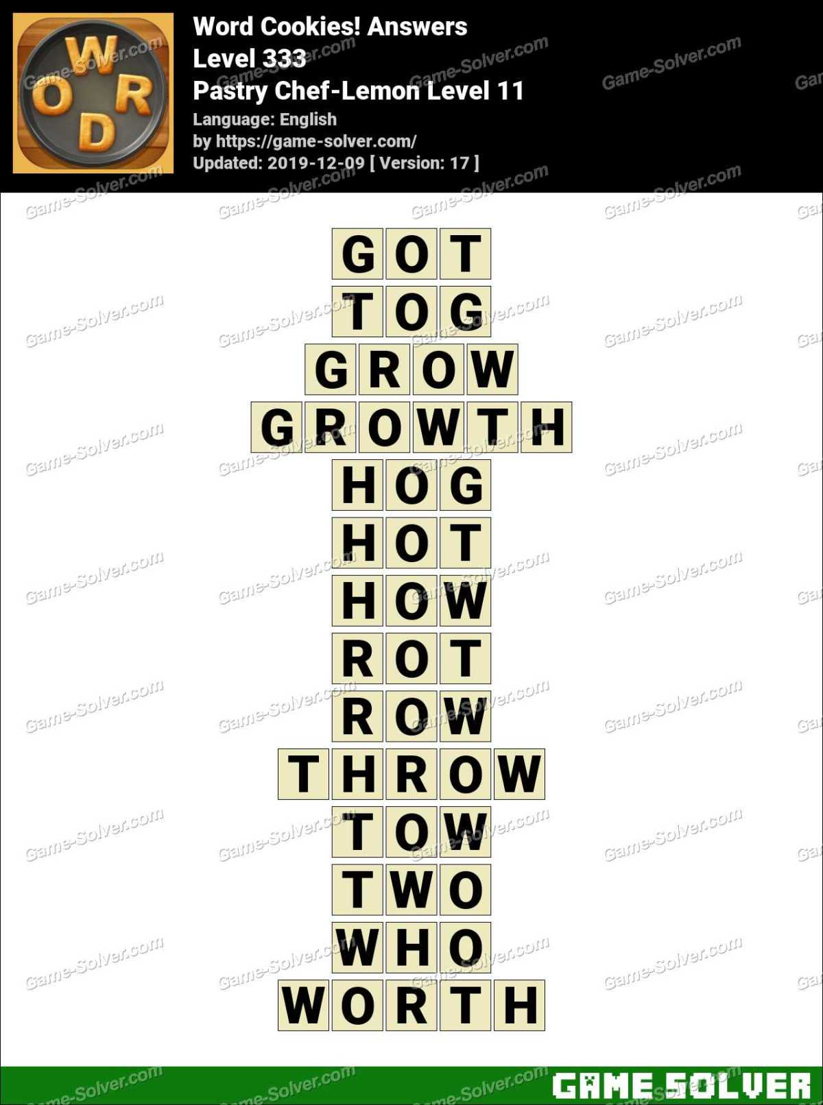 Word Cookies Pastry Chef-Lemon Level 11 Answers