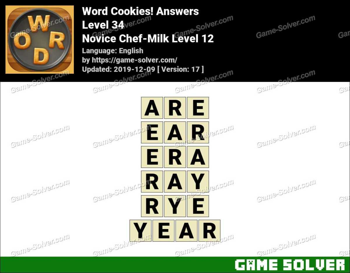 Word Cookies Novice Chef-Milk Level 12 Answers