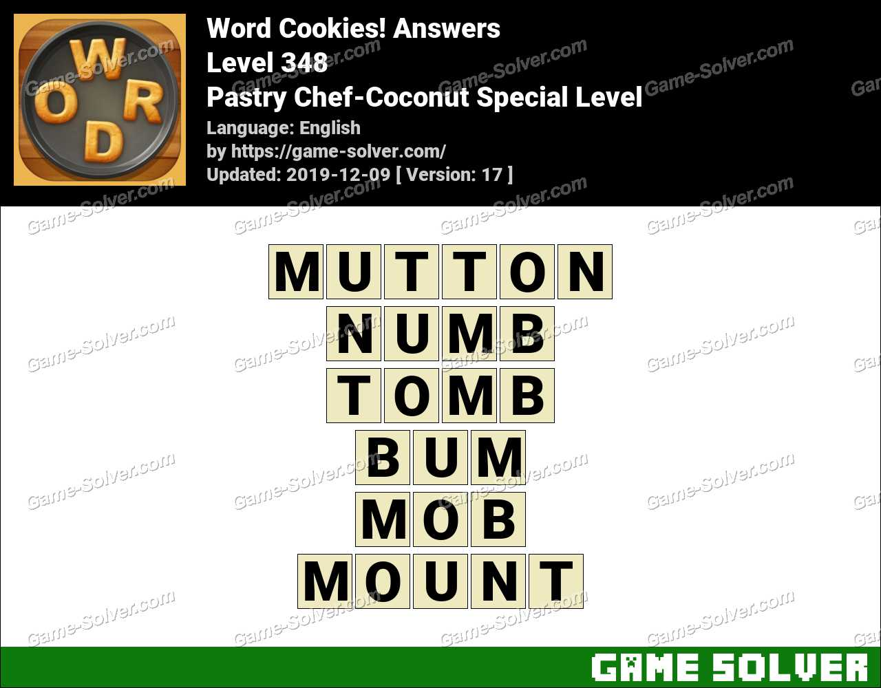 Word Cookies Pastry Chef-Coconut Special Level Answers