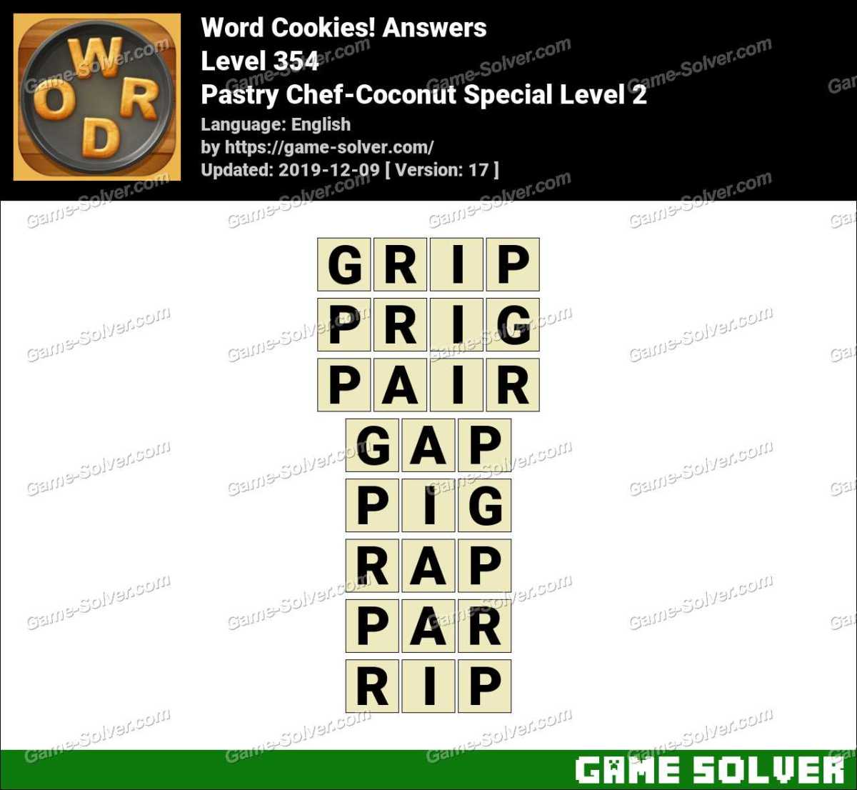 Word Cookies Pastry Chef-Coconut Special Level 2 Answers