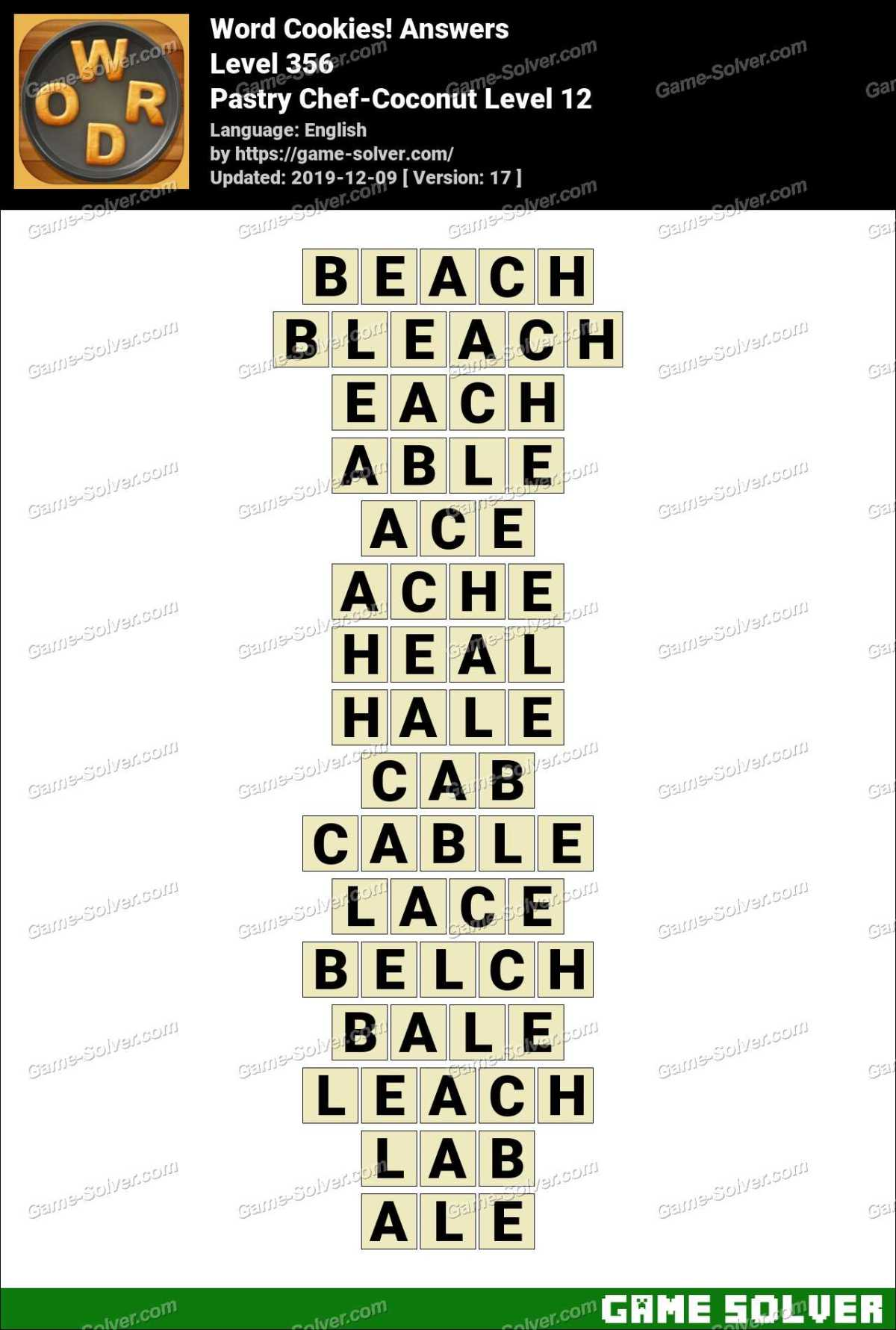 Word Cookies Pastry Chef Coconut Level 12 Answers Game Solver