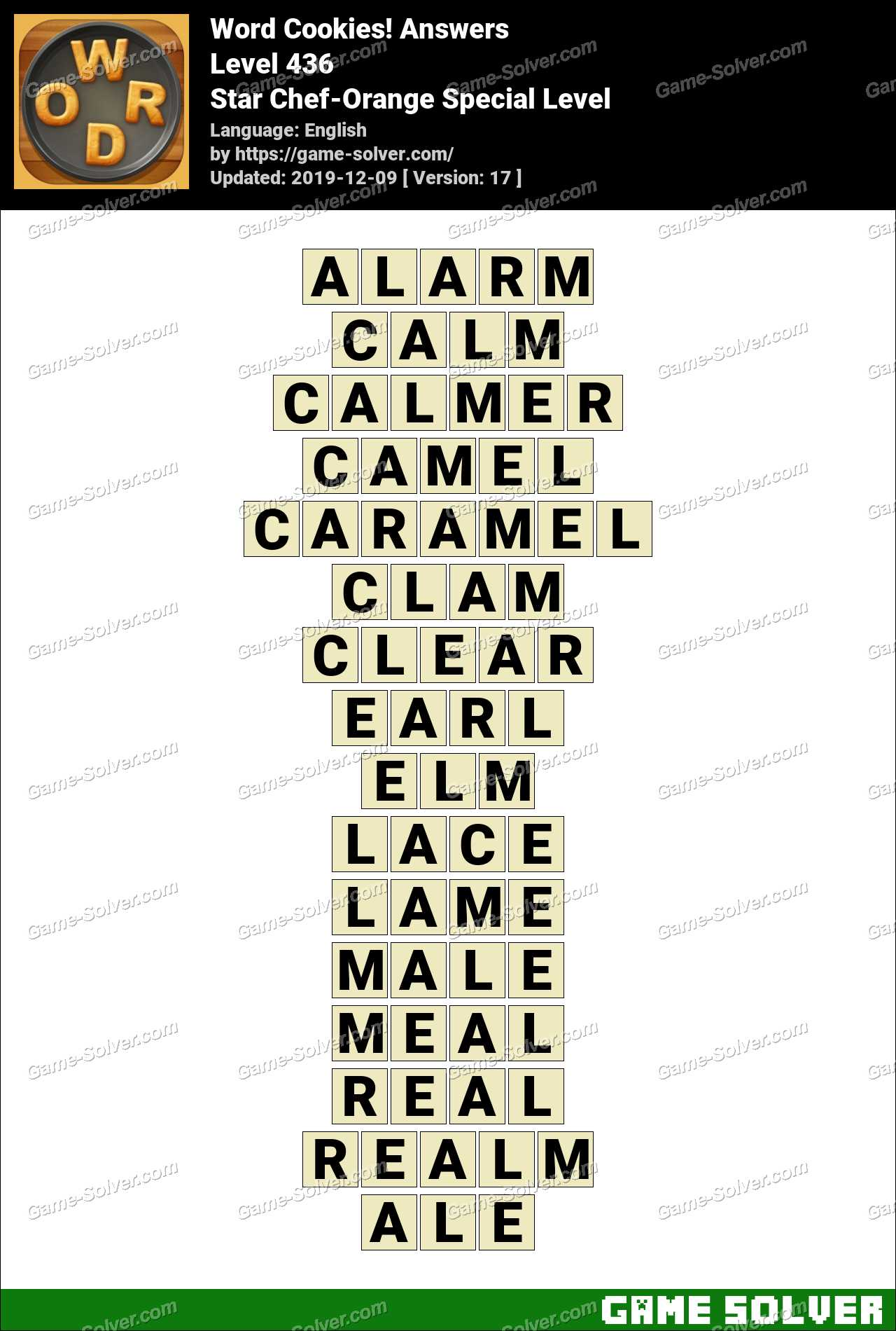 Word Cookies Star Chef-Orange Special Level Answers