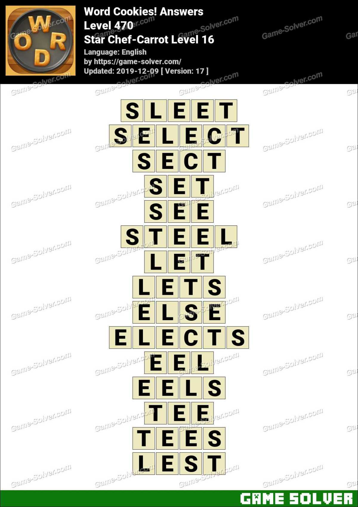 Word Cookies Star Chef-Carrot Level 16 Answers