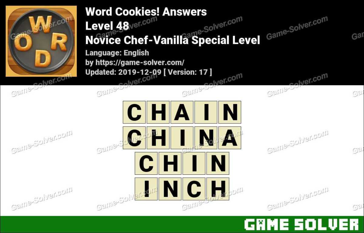 Word Cookies Novice Chef-Vanilla Special Level Answers