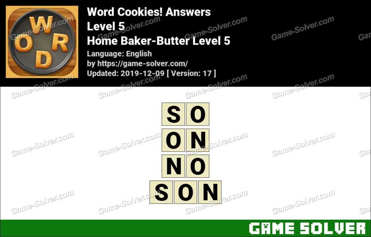 Word Cookies Home Baker-Butter Level 5 Answers