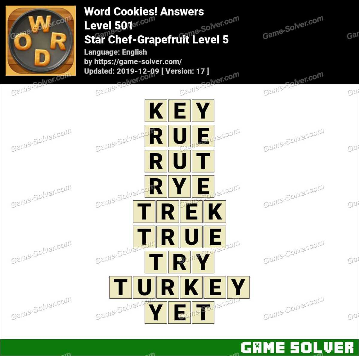 Word Cookies Star Chef-Grapefruit Level 5 Answers