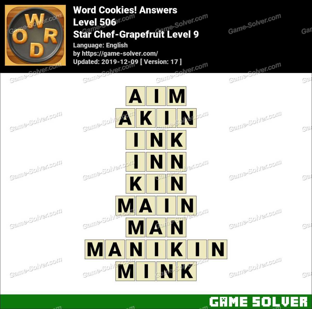 Word Cookies Star Chef-Grapefruit Level 9 Answers
