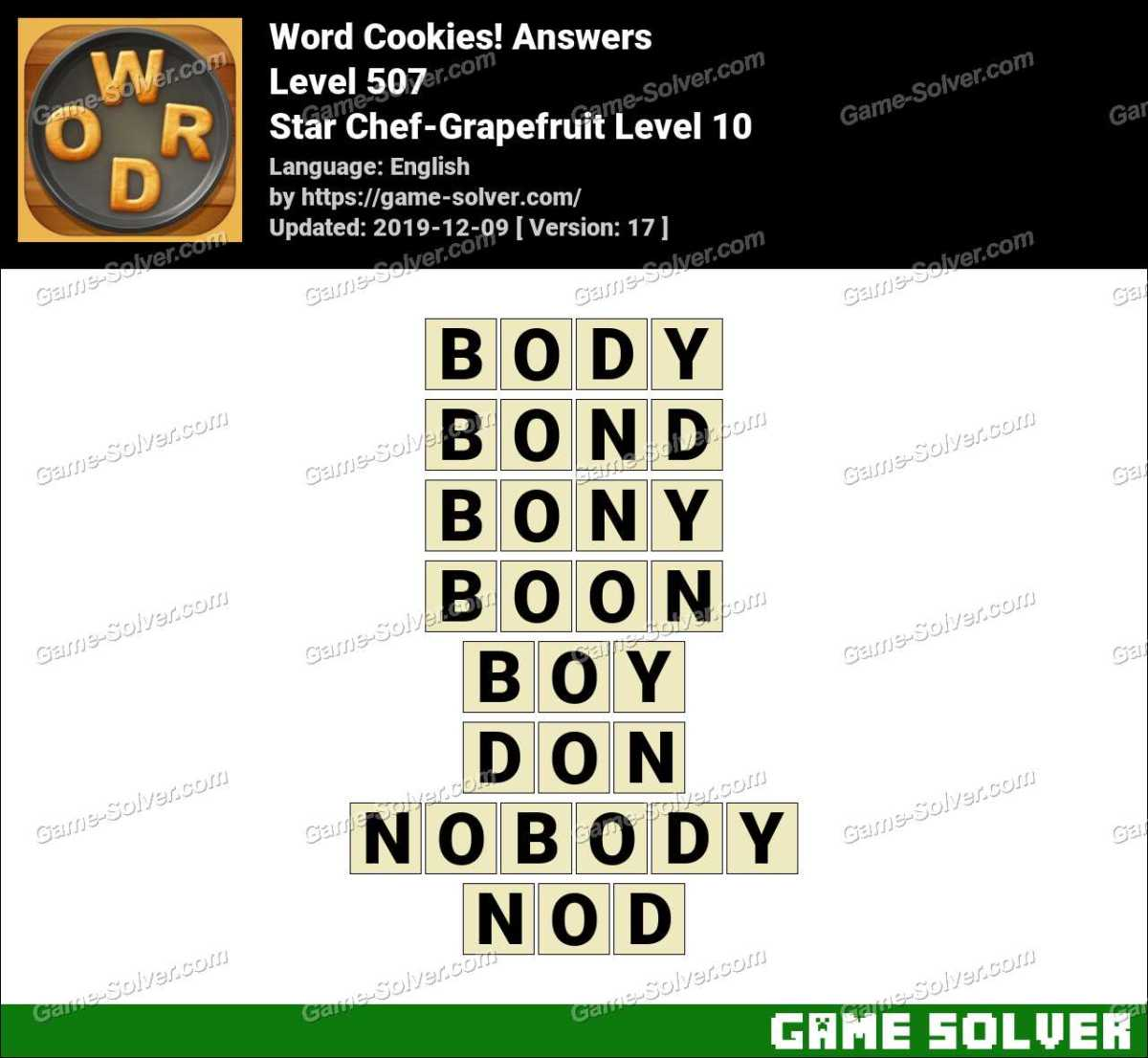 Word Cookies Star Chef-Grapefruit Level 10 Answers