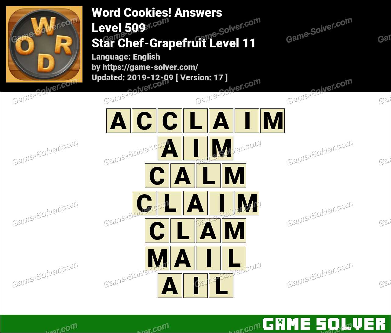 Word Cookies Star Chef-Grapefruit Level 11 Answers