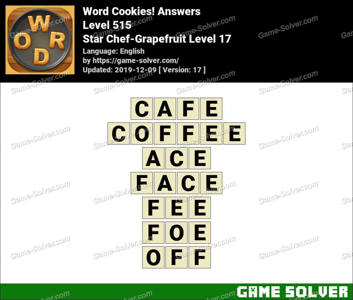 Word Cookies Star Chef-Grapefruit Level 17 Answers