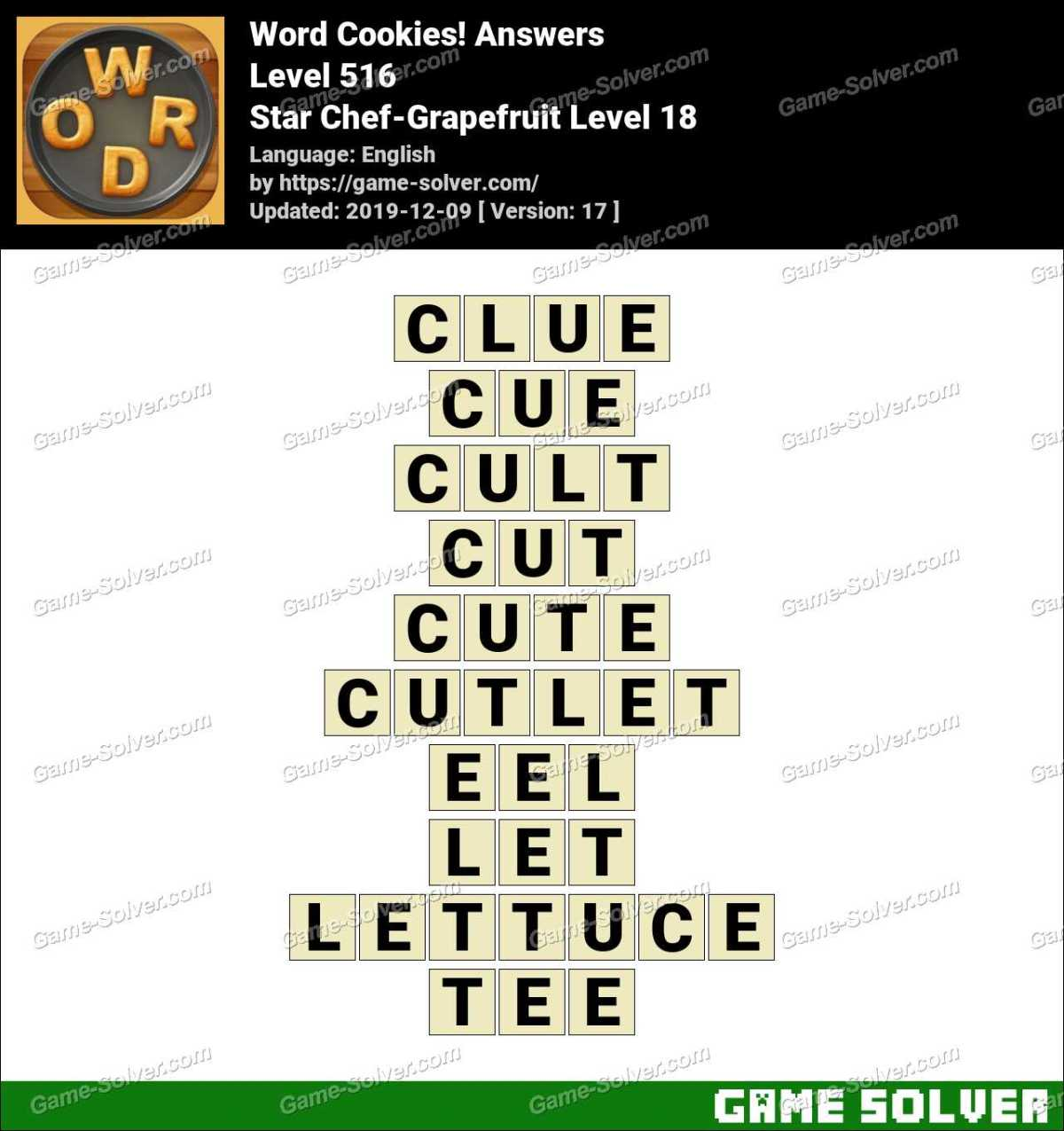 Word Cookies Star Chef-Grapefruit Level 18 Answers