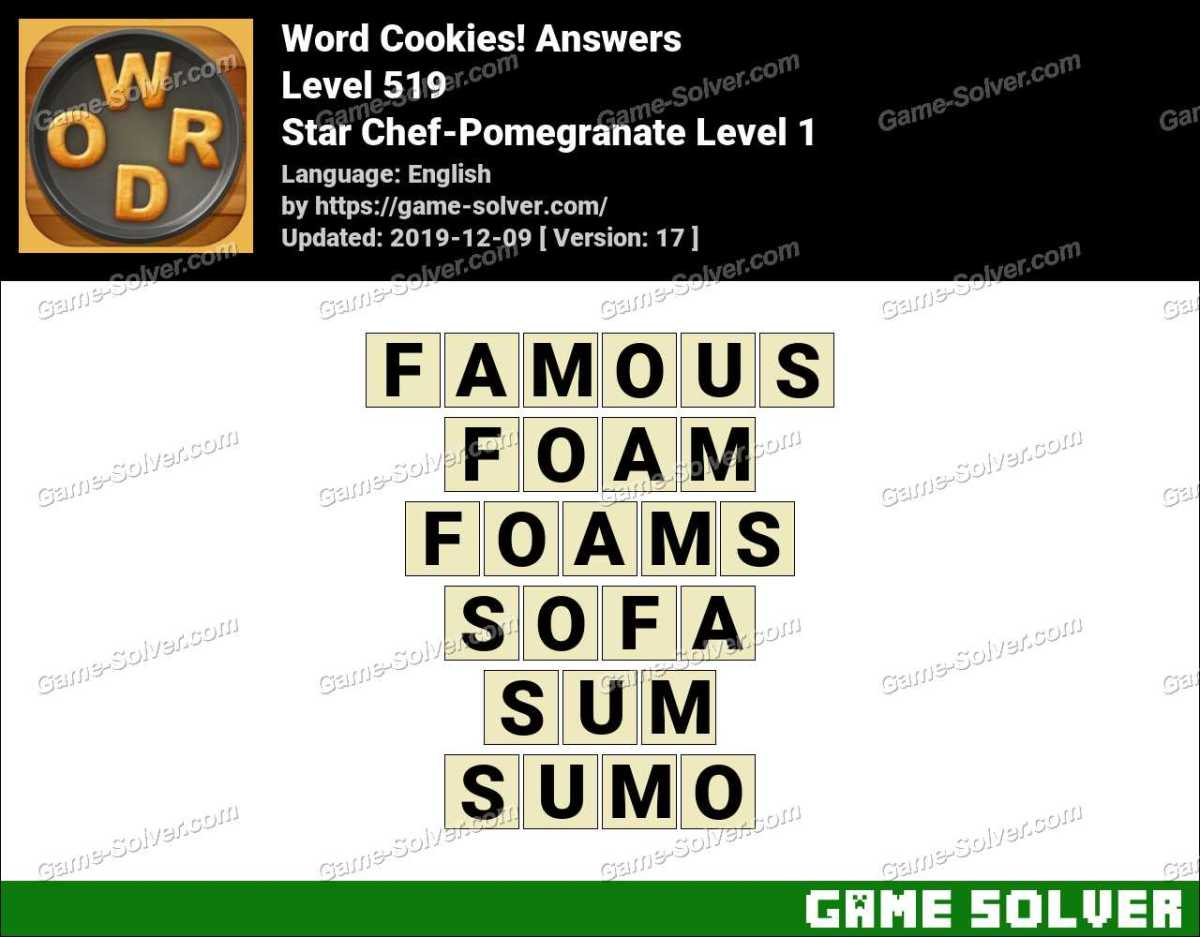 Word Cookies Star Chef-Pomegranate Level 1 Answers
