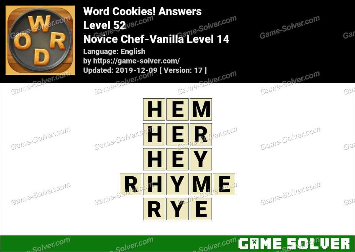 Word Cookies Novice Chef-Vanilla Level 14 Answers