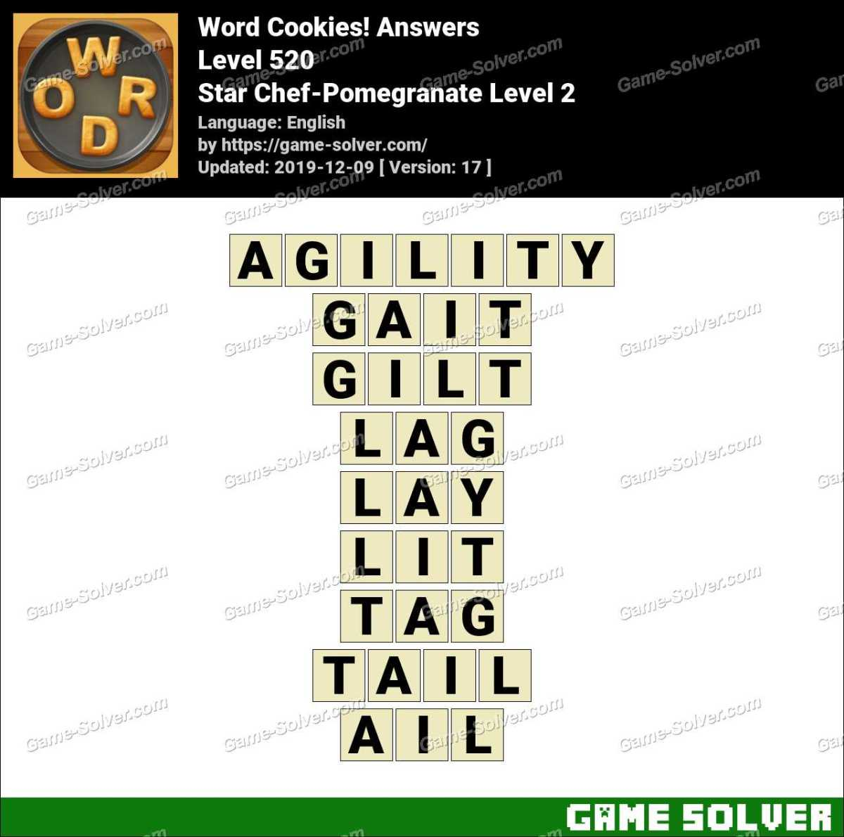 Word Cookies Star Chef-Pomegranate Level 2 Answers