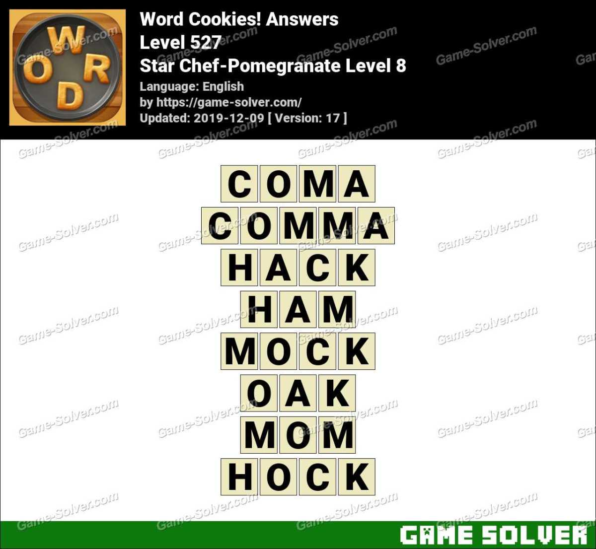 Word Cookies Star Chef-Pomegranate Level 8 Answers