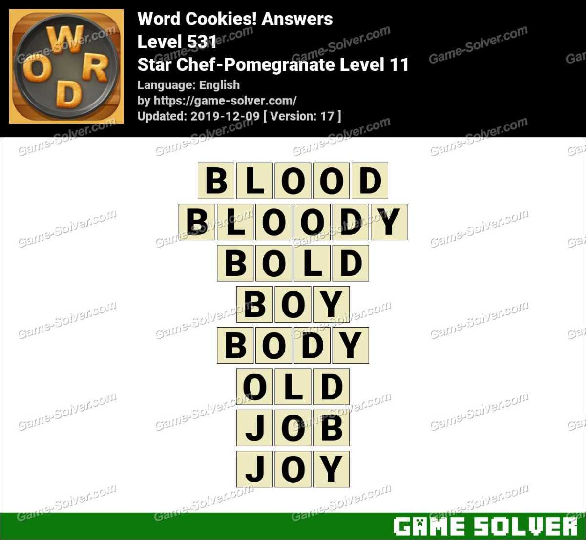 Word Cookies Star Chef-Pomegranate Level 11 Answers