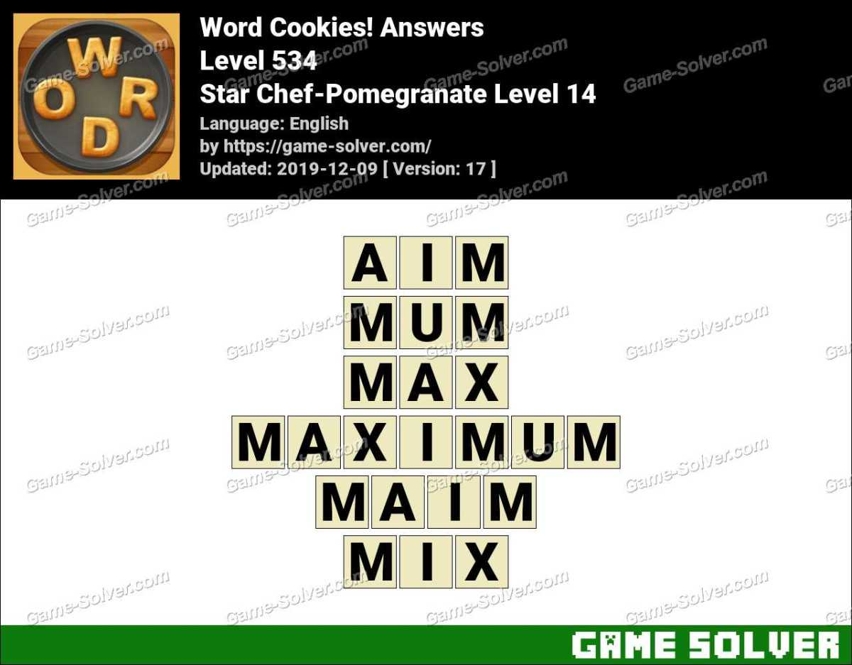Word Cookies Star Chef-Pomegranate Level 14 Answers