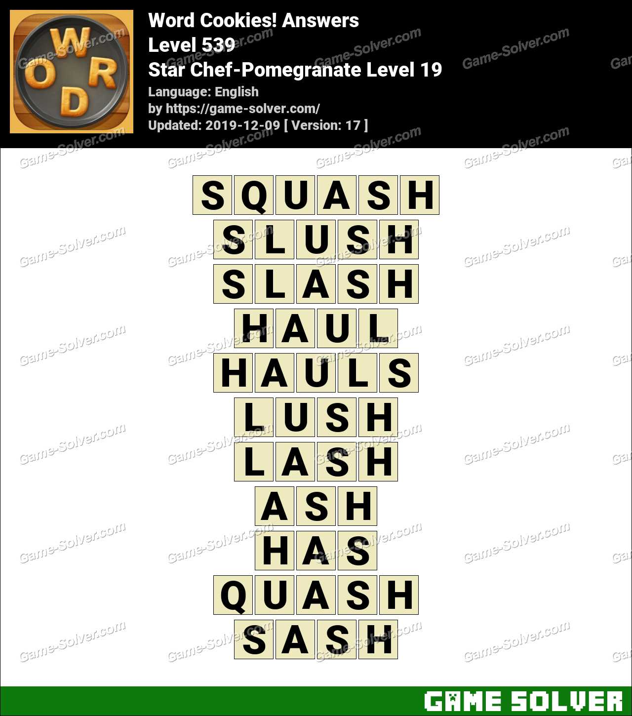 Word Cookies Star Chef-Pomegranate Level 19 Answers