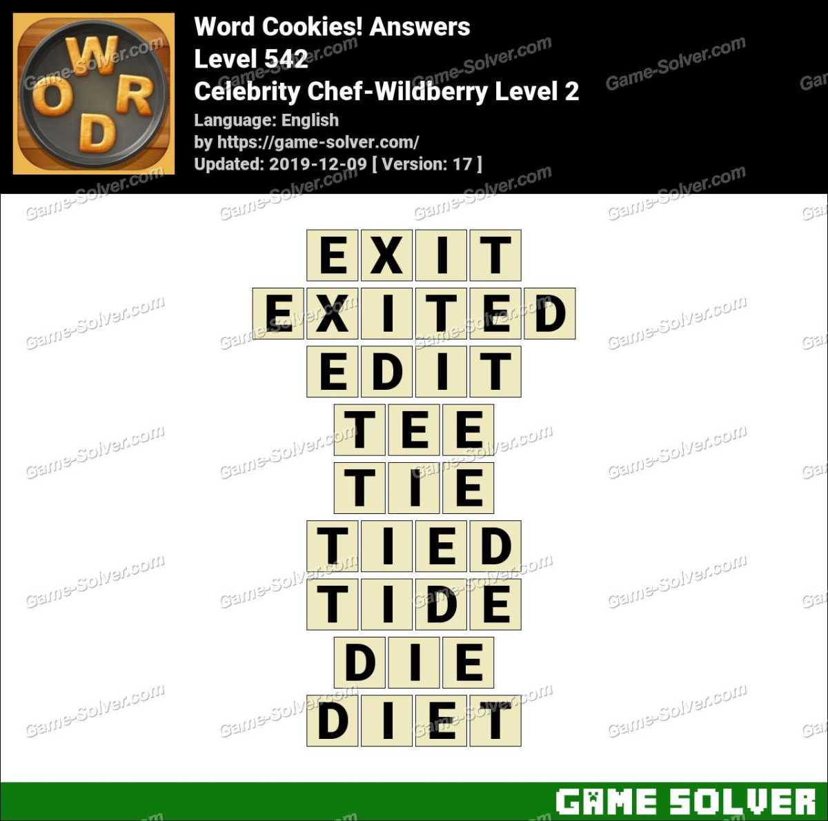Word Cookies Celebrity Chef-Wildberry Level 2 Answers