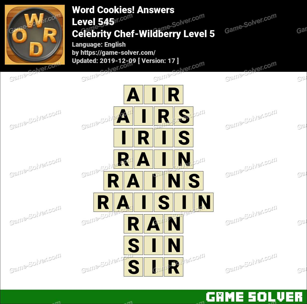 Word Cookies Celebrity Chef-Wildberry Level 5 Answers