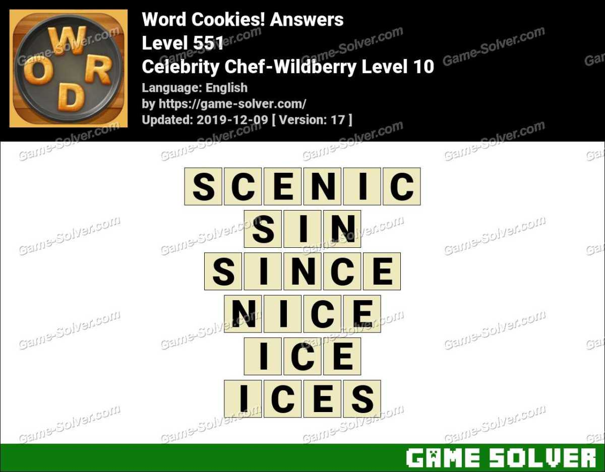 Word Cookies Celebrity Chef-Wildberry Level 10 Answers