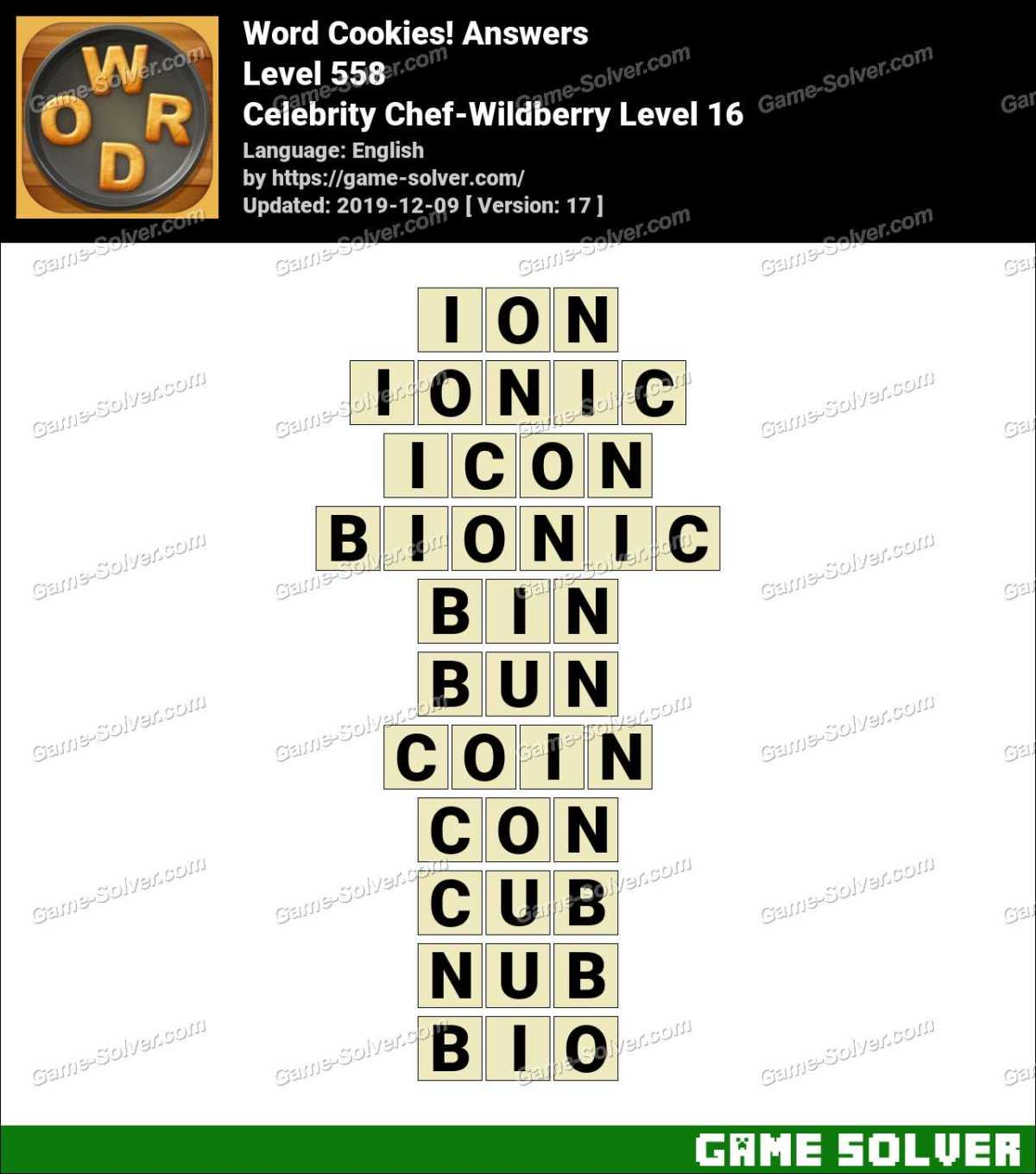 Word Cookies Celebrity Chef-Wildberry Level 16 Answers